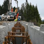 Filling with concrete